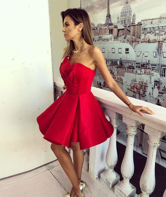 Simple red short prom dress, red homecoming dress - shdress