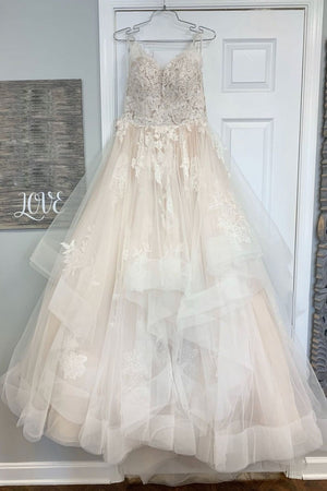 Champagne tulle lace long prom dress champagne lace evening dress