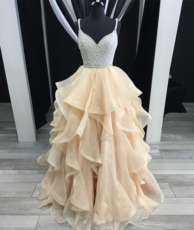 Unique champagne tulle sequin long prom dress, champagne evening dress - shdress