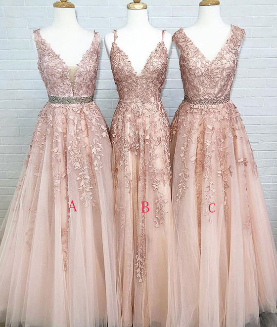 Champagne tulle lace long prom dress, champagne lace evening dress - shdress