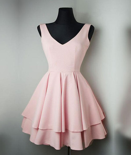 Cute v neck pink short prom dress. pink homecoming dress