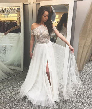 A-Line halter cold shoulder white prom dress with beading, white evening dress - shdress