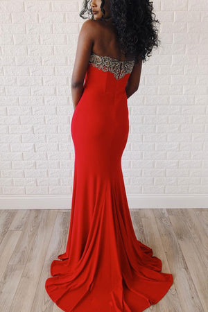 Unique red mermaid long prom dress, red evening dress