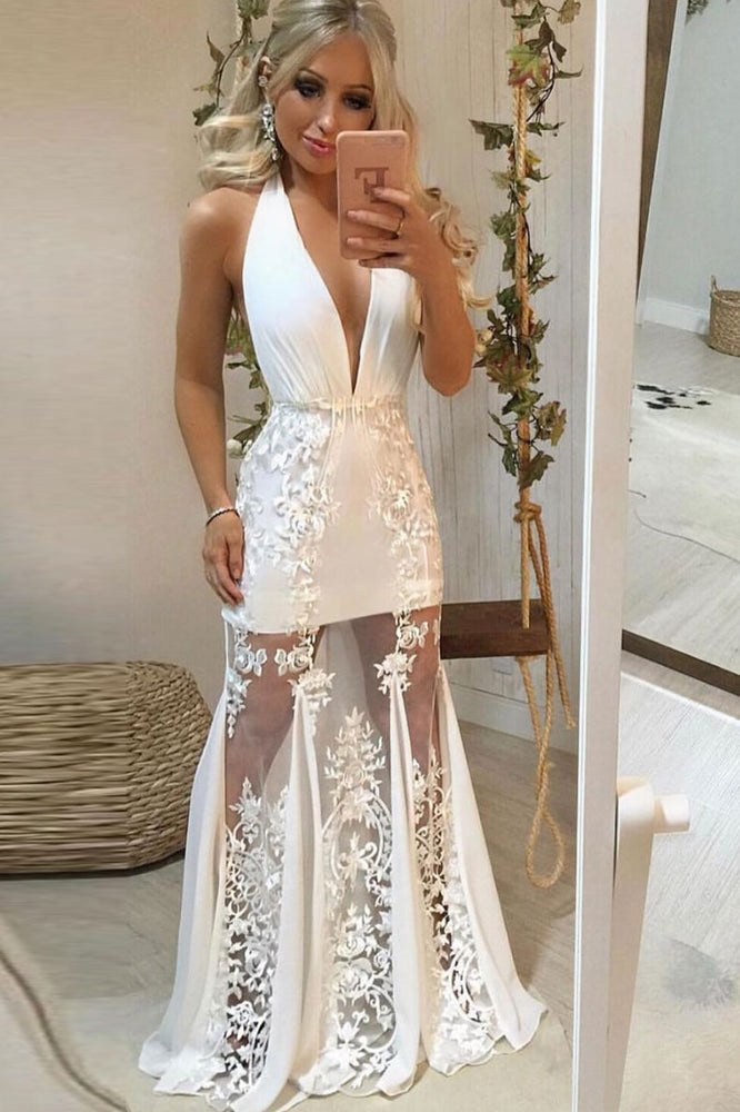 White v neck tulle lace long prom dress lace evening dress