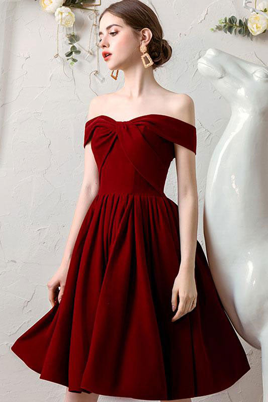 Simple burgundy chiffon short prom dress burgundy homecoming dress
