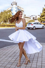 White high neck satin short prom dress, white homecoming dress