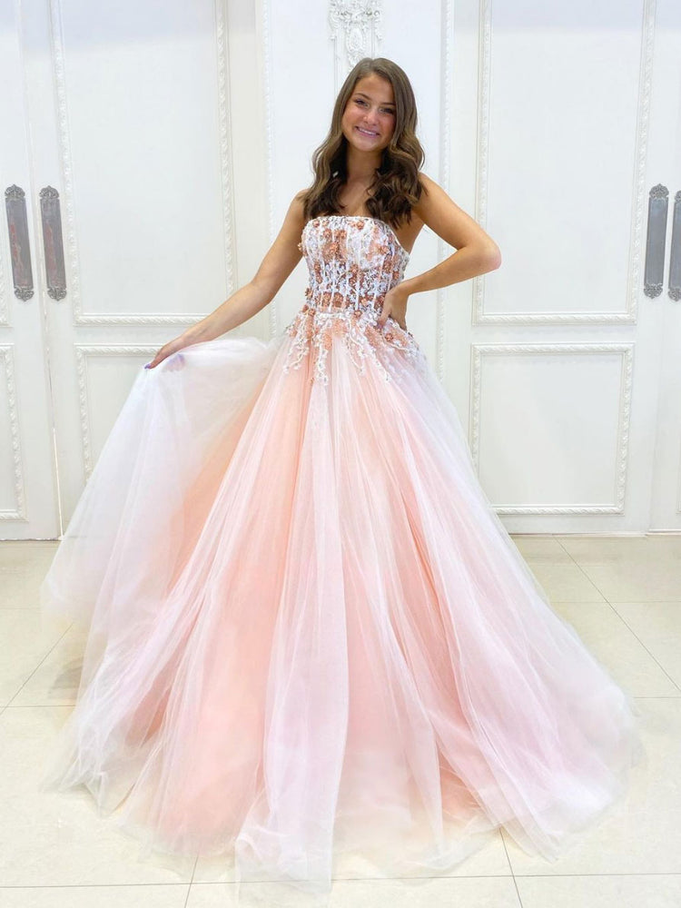 Pink A-line tulle lace long prom dress pink lace long evening dress