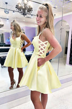 Yellow sweetheart satin short prom dress yellow cocktail dress