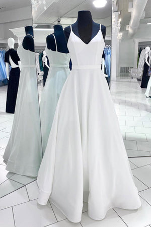 White v neck satin long prom dress white evening dress