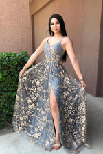 Gray v neck lace long prom dress gray blue evening dress