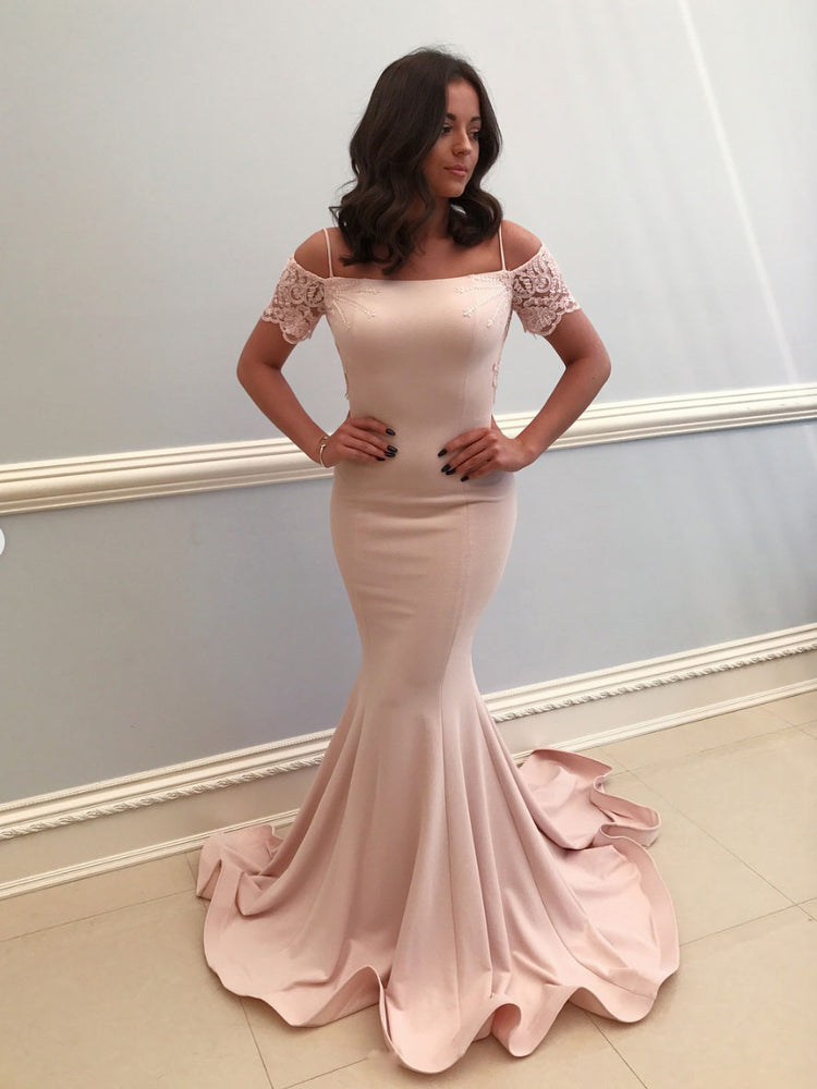 Pink lace satin mermaid long prom dress pink evening dress