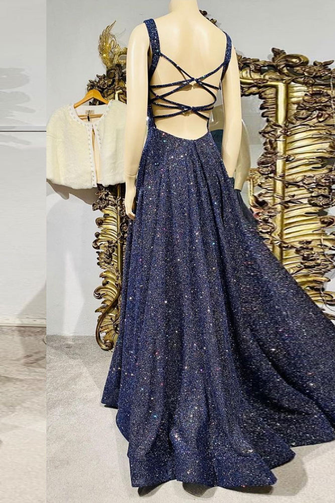 Dark blue sequin long prom dress , blue evening dress