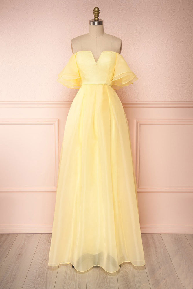 Yellow tulle off shoulder long prom dress yellow formal dress