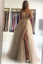 Champagne v neck beads long prom dress champagne evening dress