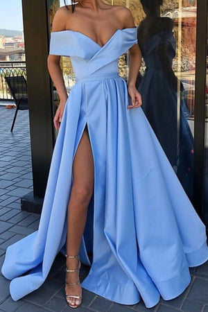Simple blue off shoulder long prom dress blue bridesmaid dress
