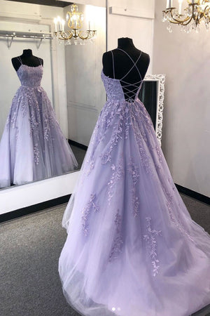 Purple tulle lace long prom dress lace tulle formal dress