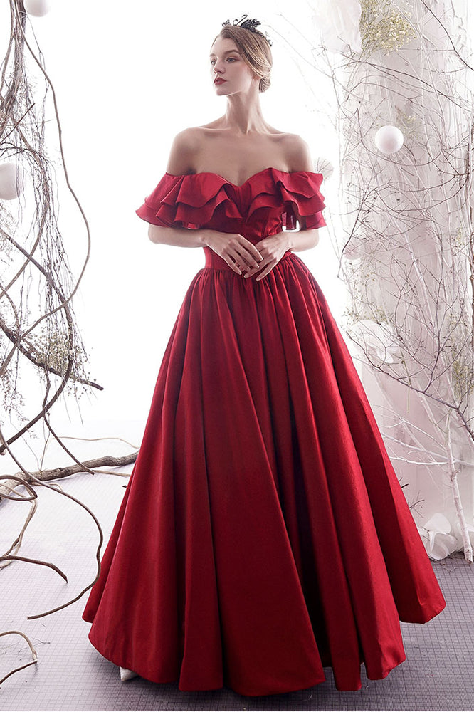 Simple red sweetheart satin long prom dress red bridesmaid dress