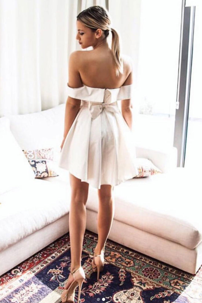 Simple cute satin short prom dress, homecoming dress