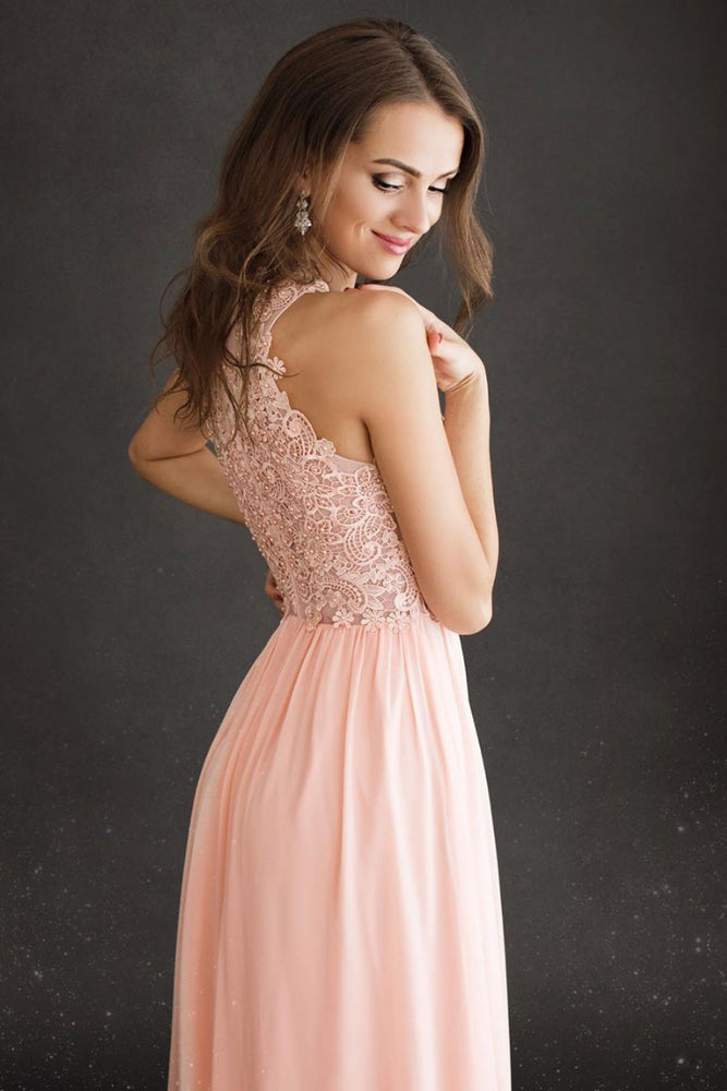 Pink round neck chiffon long prom dress lace pink evening dress