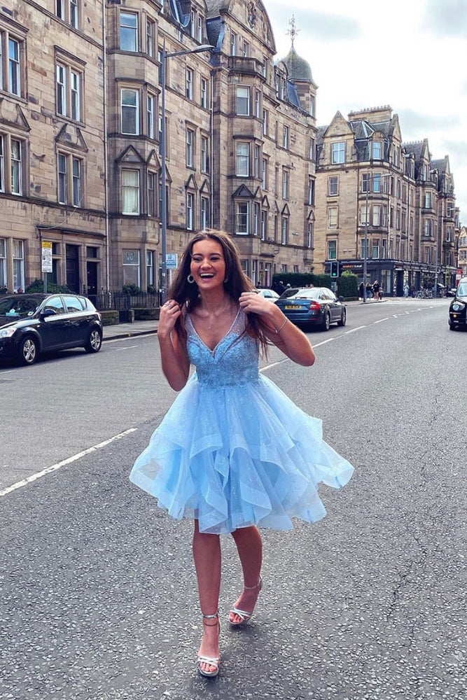 Blue v neck tulle short prom dress blue tulle lace homecoming dress