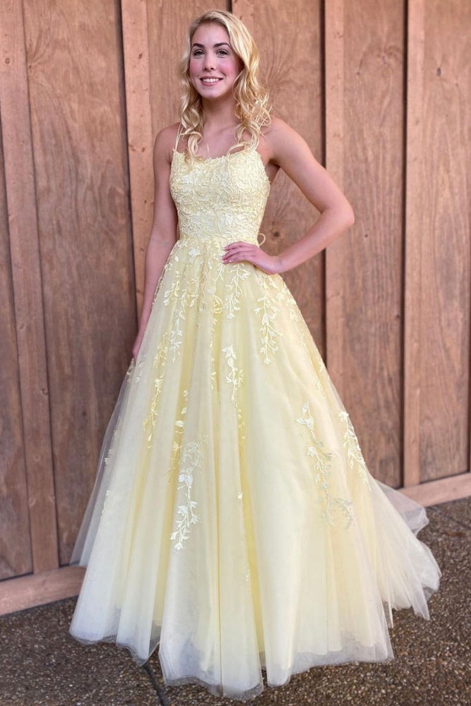 Yellow tulle lace long prom dress yellow evening dress