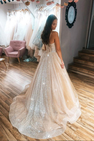 Champagne sweetheart tulle sequin long prom dress tulle formal dress