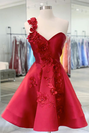 Burgundy v neck satin short prom dress one shoulder cocktail dress