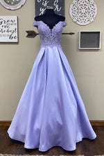 Blue purple lace satin long prom dress blue purple formal dress