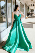 Green v neck satin long prom dress green long formal dress