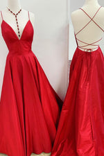 Red v neck backless satin long prom dress red evening dress