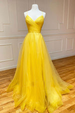 Yellow v neck tulle long prom dress yellow formal dress