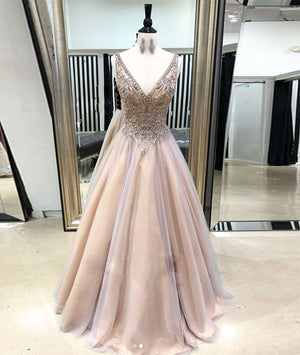 Champagne v neck tulle long prom dress, champagne evening dress - shdress