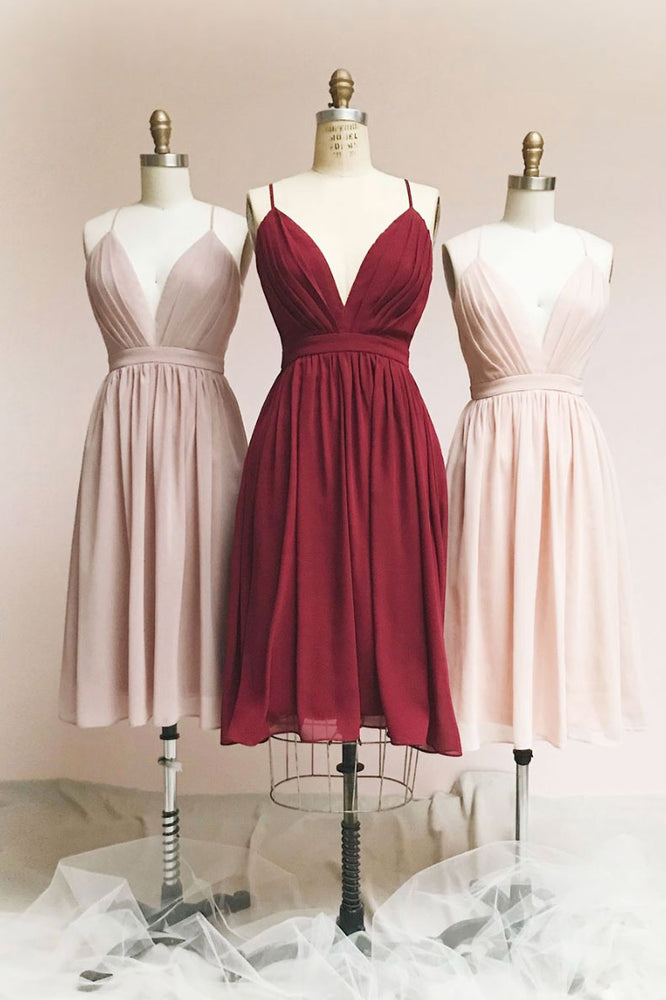Simple v neck chiffon short prom dress short bridesmaid dress