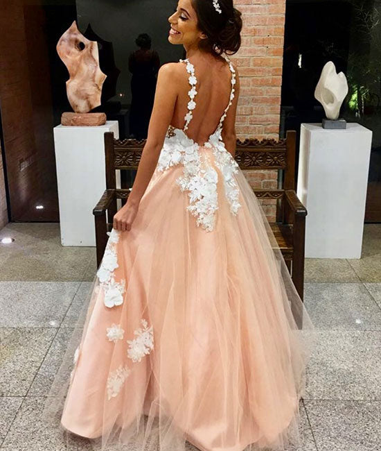 Pink v neck tulle lace applique long prom dress, pink evening dress - shdress