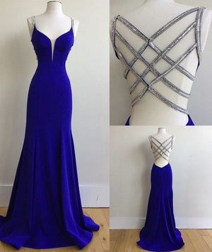 Blue v neck sequin long prom dress, unique blue evening dress - shdress
