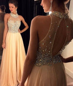 A-line beaded sequin Long Prom Dresses, Evening Dresses