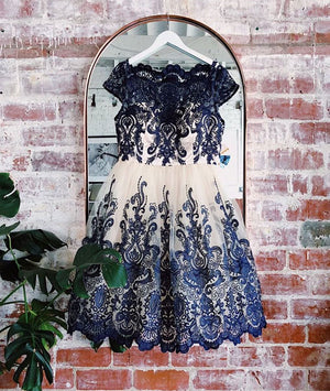Blue lace applique short prom dress, blue bridesmaid dress - shdress