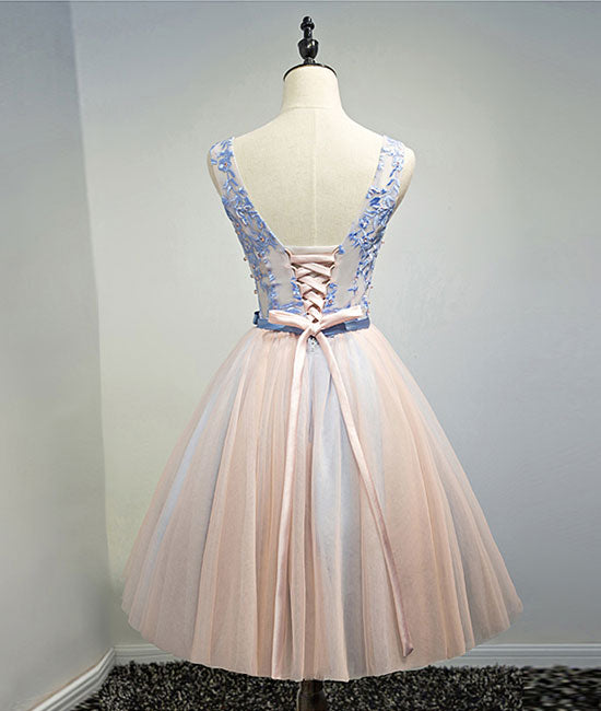 Pink v neck tulle lace appplique short prom dress, homecoming dress - shdress