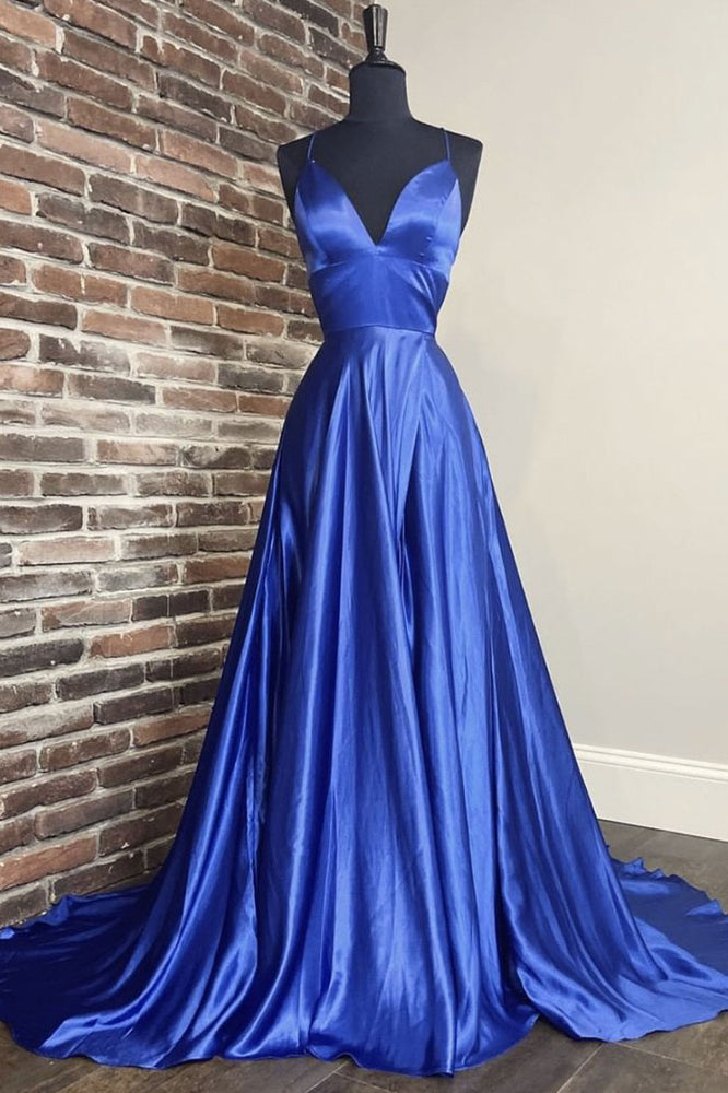 Simple blue v neck satin long prom dress blue evening dress