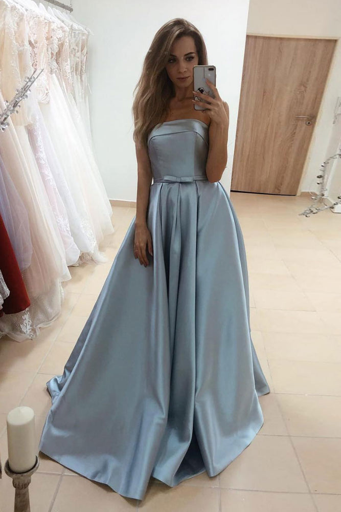 Simple blue satin long prom dress blue satin long evening dress