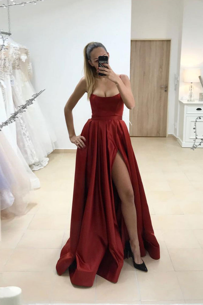 Simple satin burgundy long prom dress burgundy evening dress