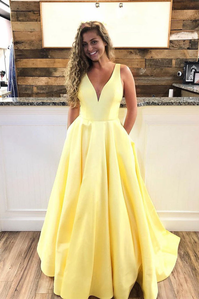 Simple v neck yellow satin long prom dress yellow evening dress