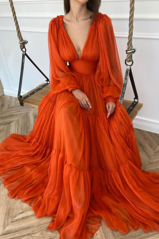 Orange v neck chiffon long prom dress orange evening dress