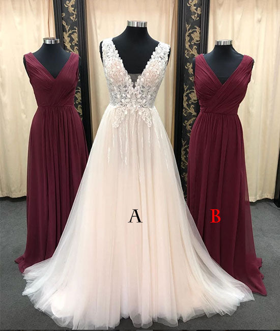 Unique tulle lace long prom dress, bridesmaid dress, tulle formal dress - shdress