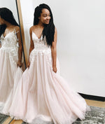 Champagne v neck tulle lace long prom dress, tulle evening dress