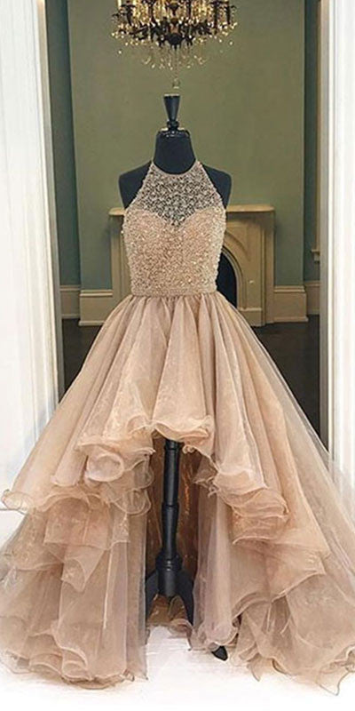 Unique round neck high-low prom dresses for teens, evening dresses ...