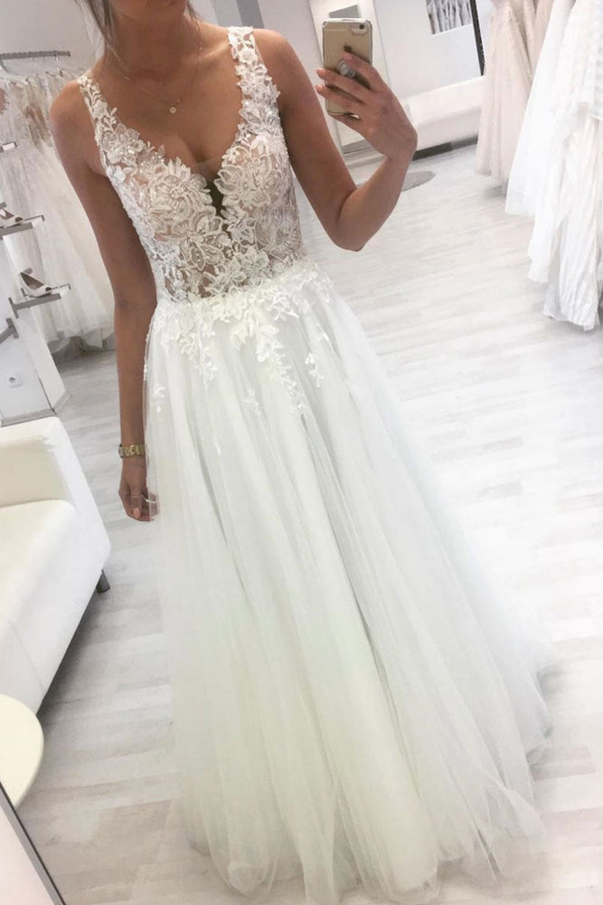 White v neck tulle lace long prom dress tulle lace formal dress
