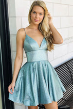 Green v neck short prom dress green homecoming dress
