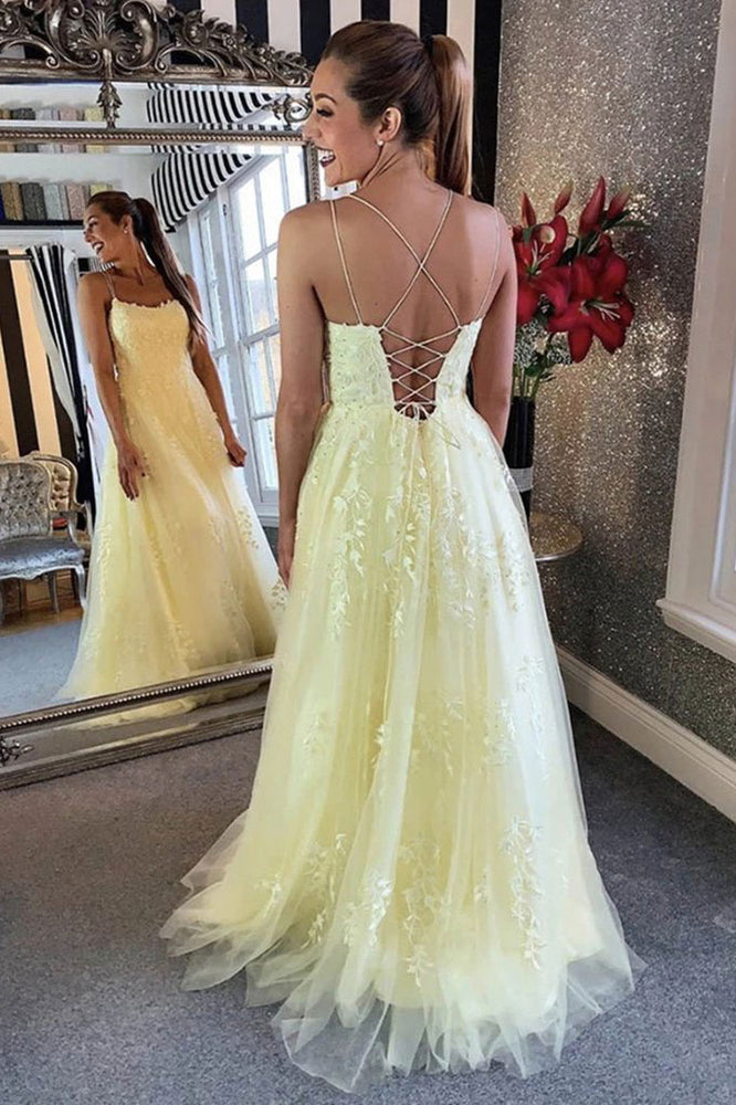 Yellow tulle lace long prom dress yellow formal dress