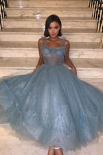 Gray blue tulle lace prom dress tulle lace evening dress